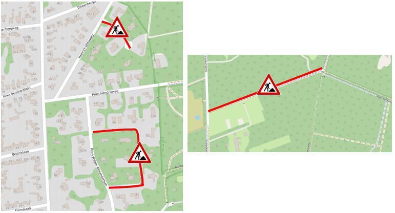 Ekerlaan, Prins Clauslaan en fietspad Molenbeekweg Bennekom