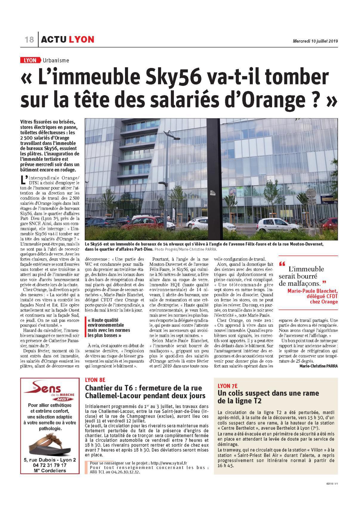 SKY56 à Lyon , la CFDT porte parole de l'intersyndicale