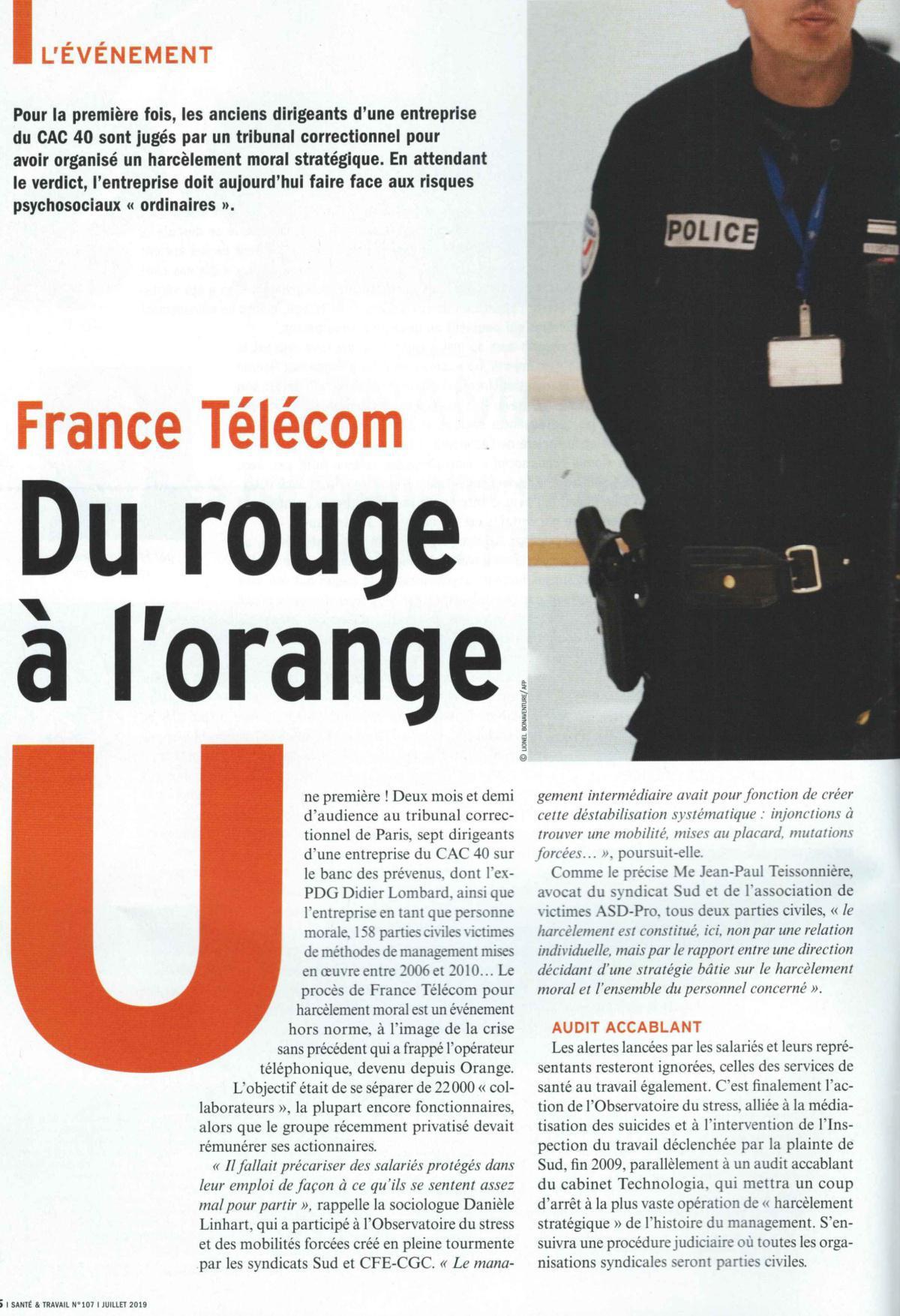 Article Santé et Travail Juillet 2019. France télécom passe du rouge à l'Orange