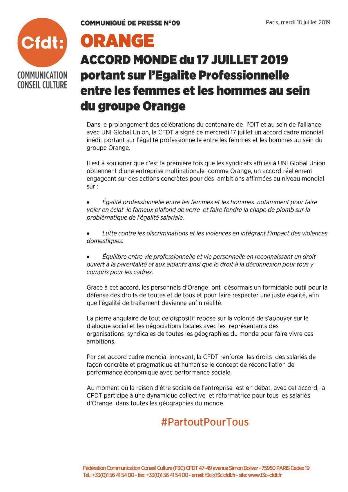 Accord Monde sur l'égalité professionnelle au sein du Groupe Orange Juillet 2019