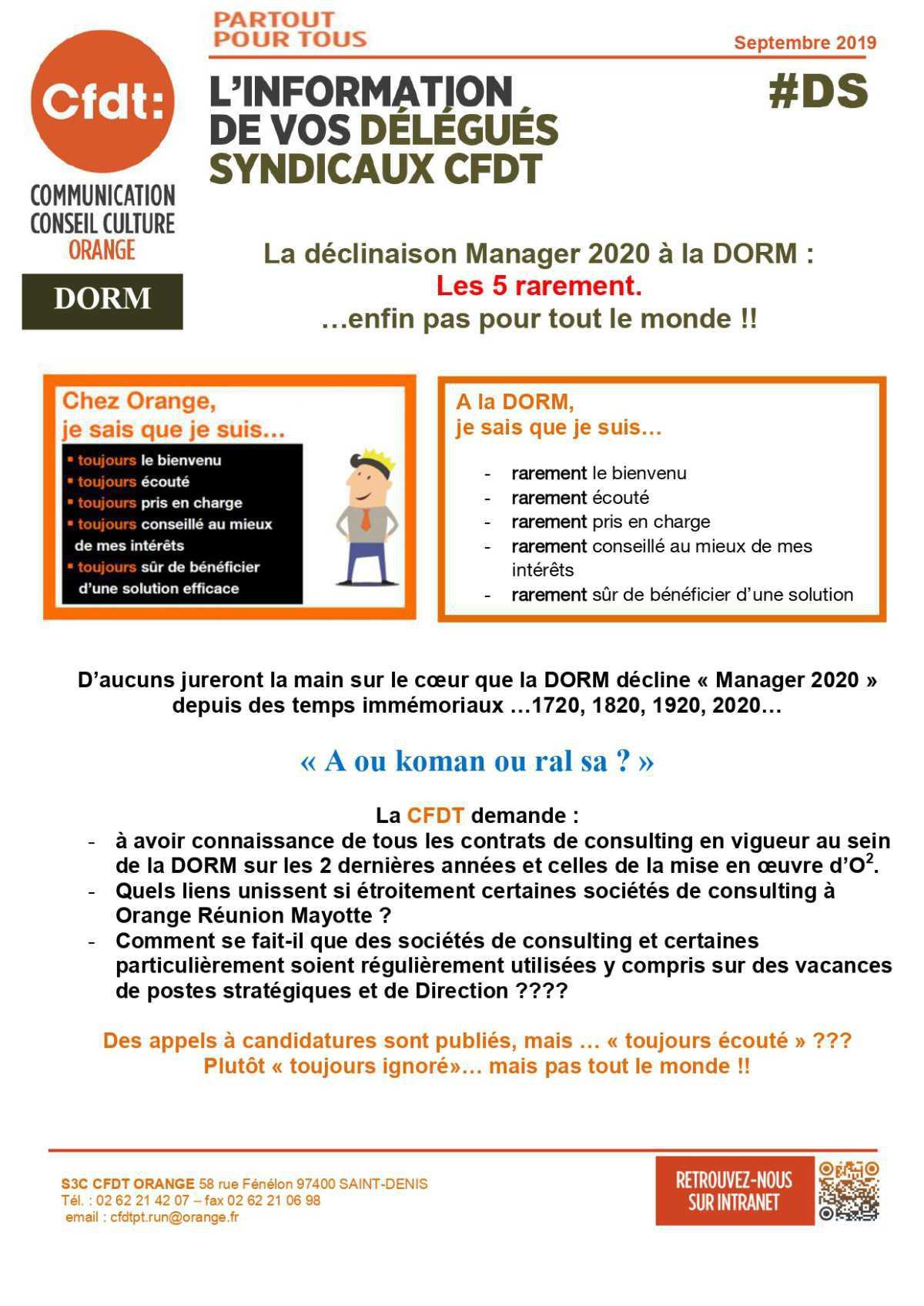 #DS - La déclinaison Manager 2020 à la DORM