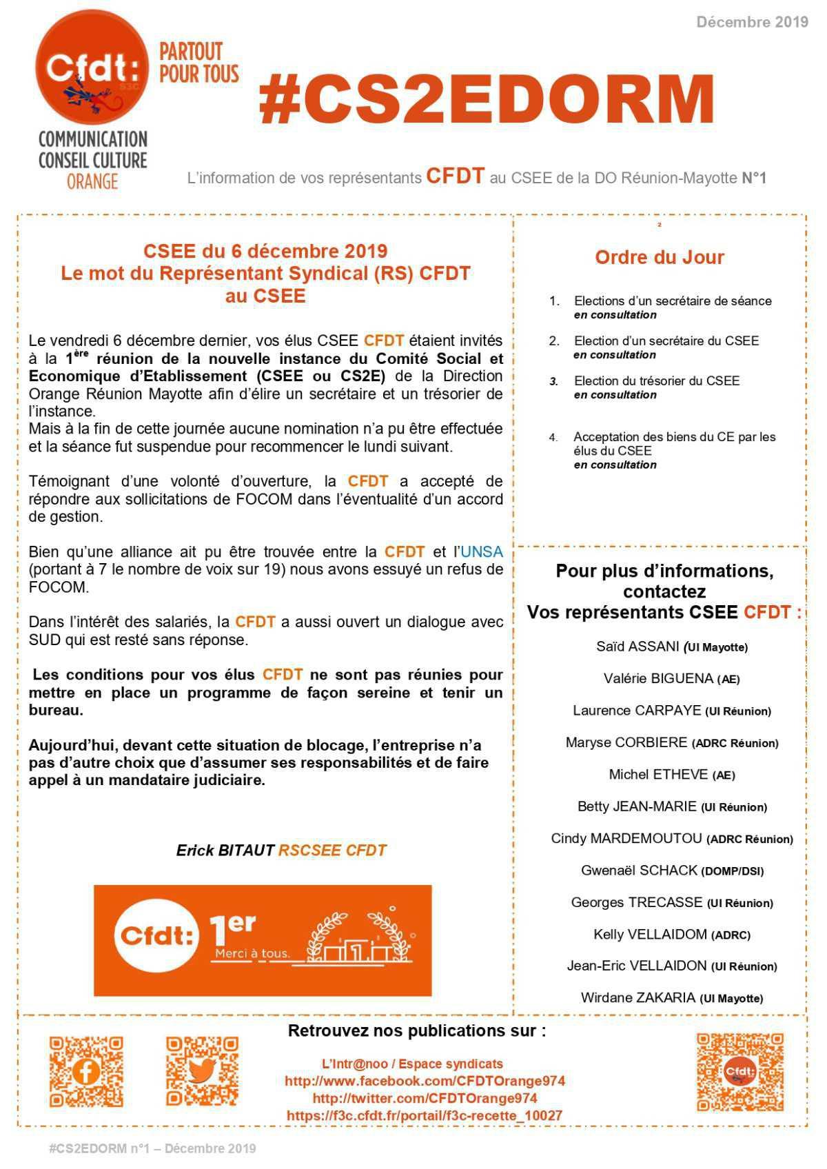 #CS2EDORM n°1 - Pas de bureau constitué à date