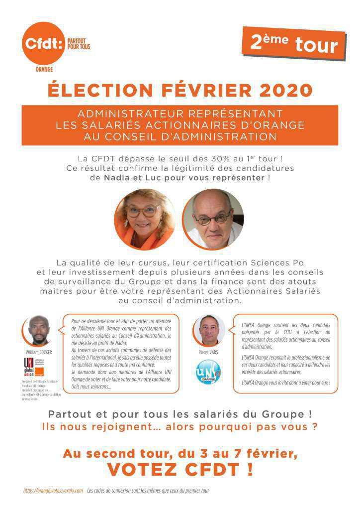 Election Représentant salariés actionnaires: second tour