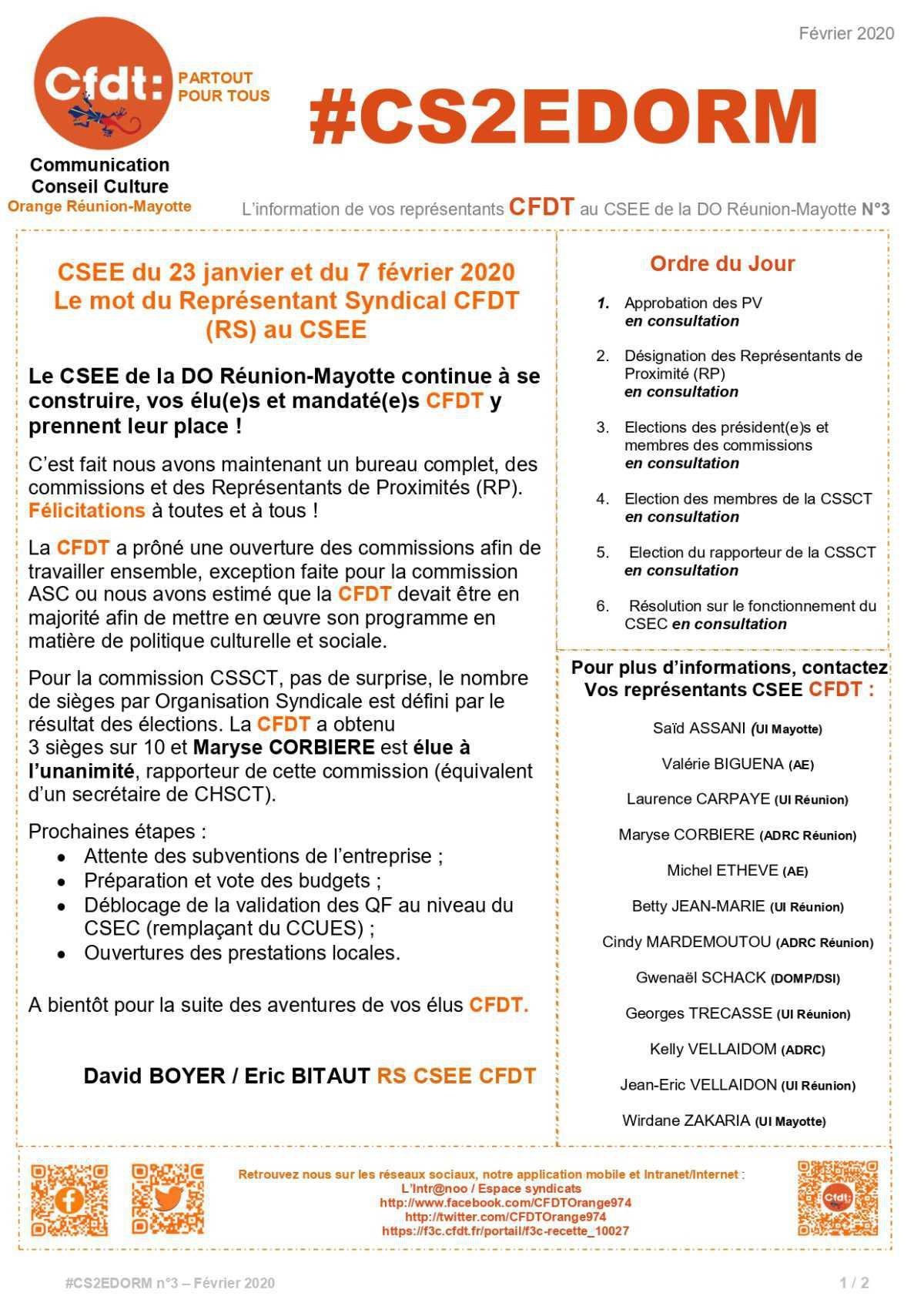 #CS2EDORM n°3 - La construction du CSEE continue ! La mise en place des commissions et des RP est faite !