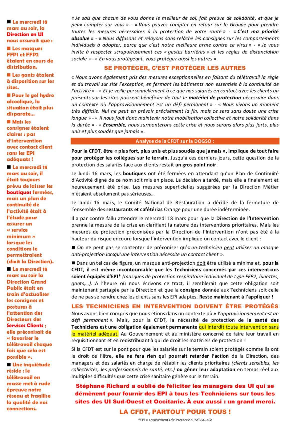 Coronavirus: intervention Stéphane Richard et analyse CFDT