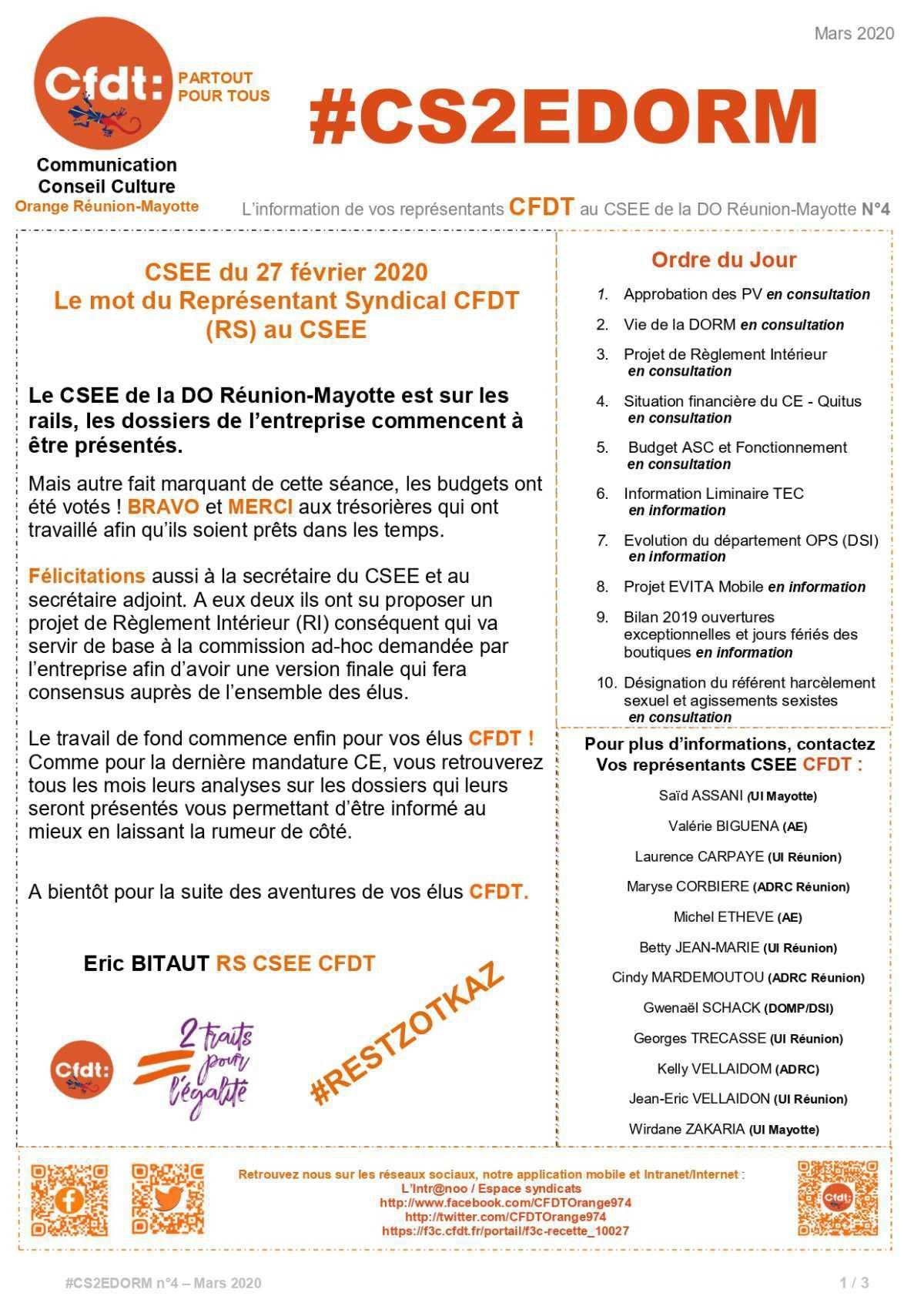 #CS2EDORM n°4 - Le travail de vos élus a commencé.