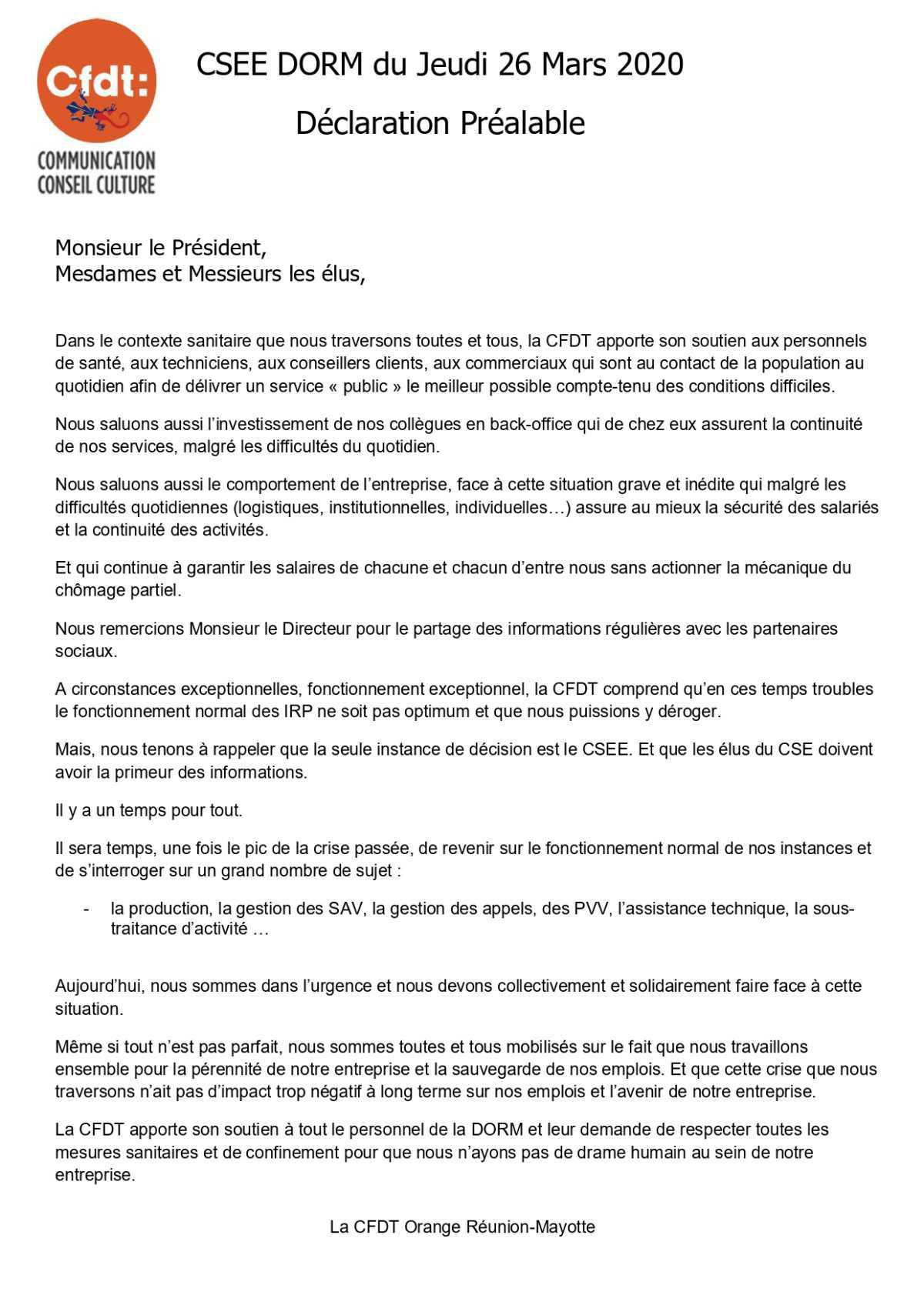 #DS - CSEE du 26 mars 2020 - Déclaration préalable de vos élus.