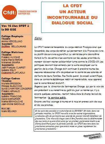 Le lettre des élu(e)s CSE - Mars 2020
