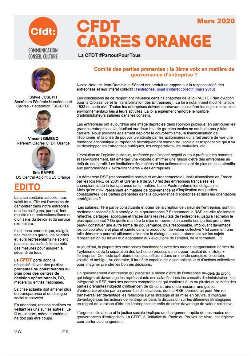 Newsletter Cadres - Mars 2020
