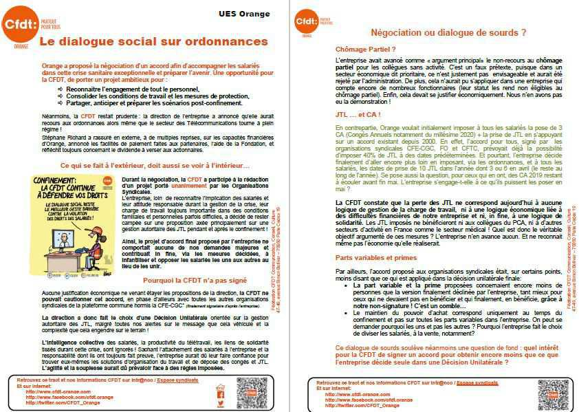Orange, le dialogue social sur ordonnances