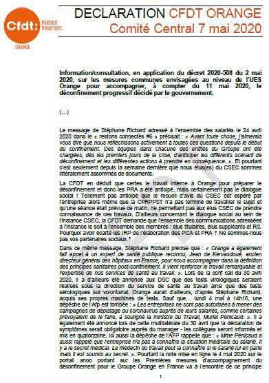 DECLARATION CFDT ORANGE Comité Central 7 mai 2020