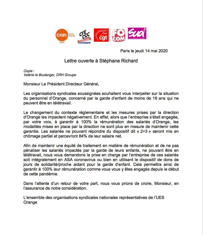 Lettre ouverte à Stéphane Richard inter OS du 14 mai 2020