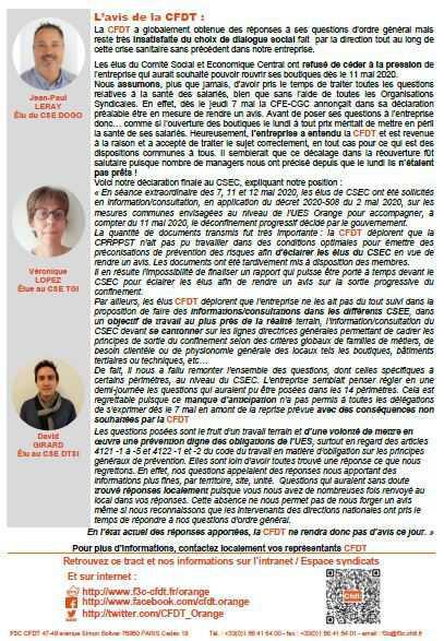 Crise sanitaire et reprise d'activités chez Orange, vos représentants CFDT vous informent