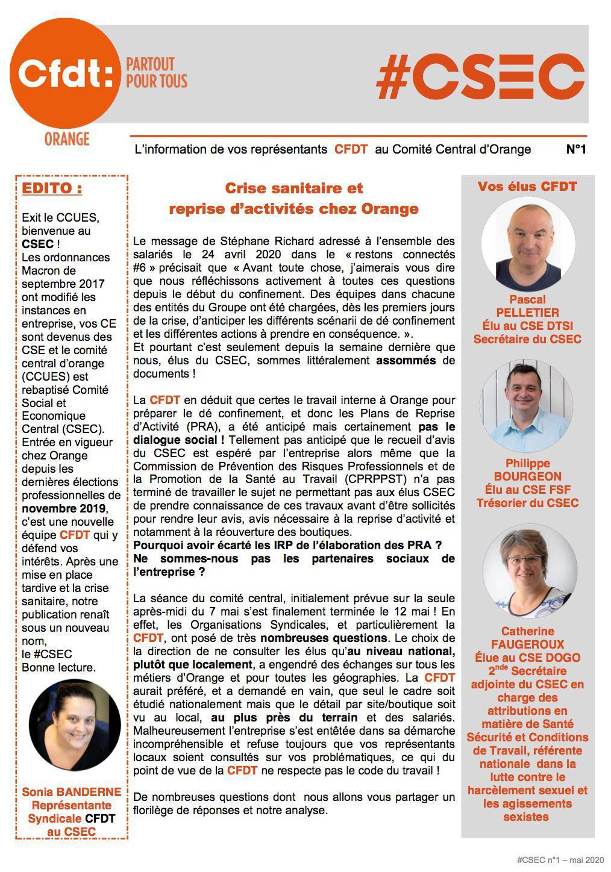 #CSEC N°1 - Crise sanitaire et reprise d'activités chez Orange - Mai 2020