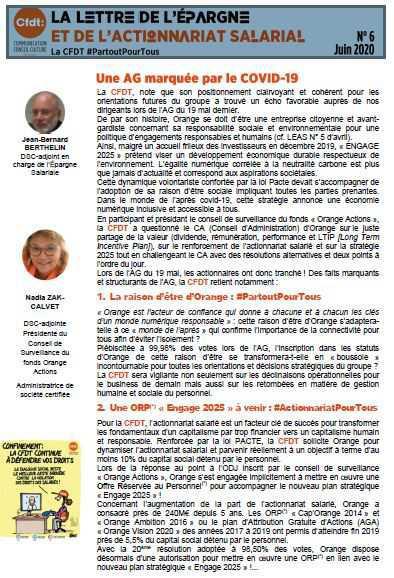 La lettre de l'épargne et de l'actionnariat salarial - Juin 2020