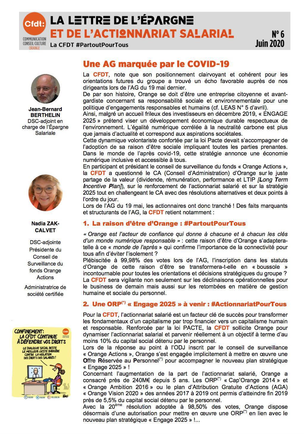 La lettre de l'épargne et de l'actionnariat salarial - N°6 - Juin 2020