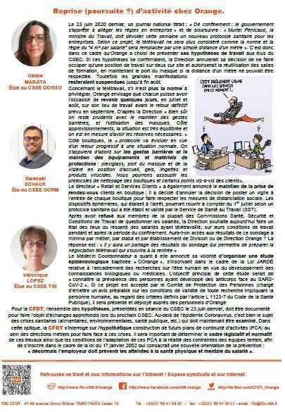 L'information de vos représentants CFDT au Comité Central d'Orange