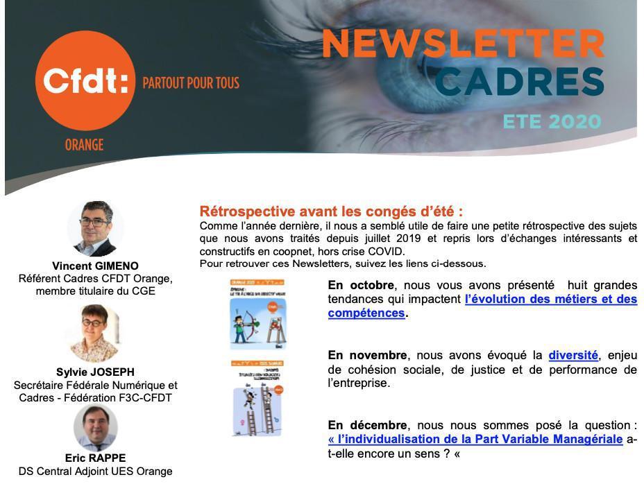 Newsletter Cadres ETE 2020 : rétrospective avant les congés d'été.