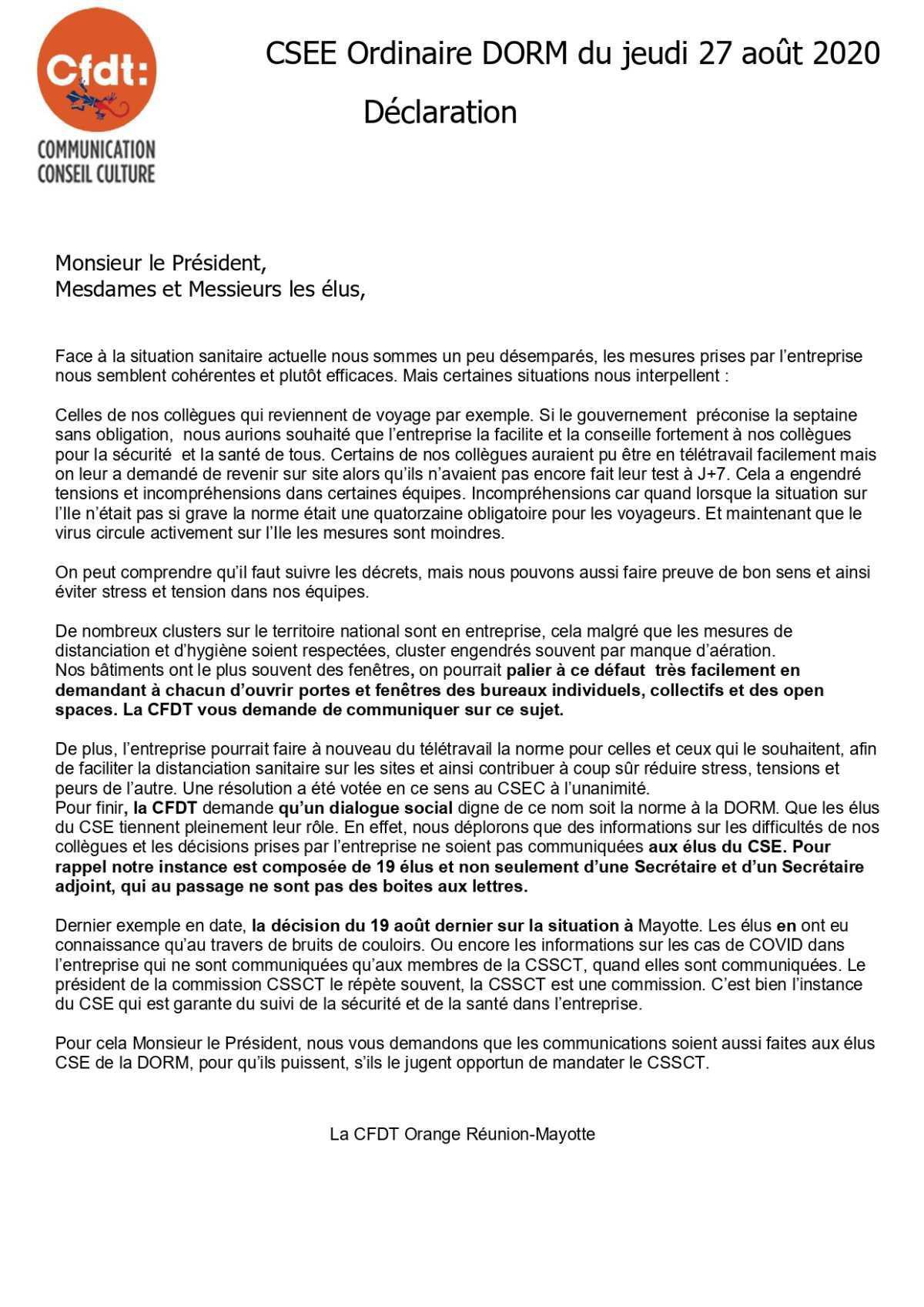 Déclaration de la CFDT lors du CSEE du 27 août