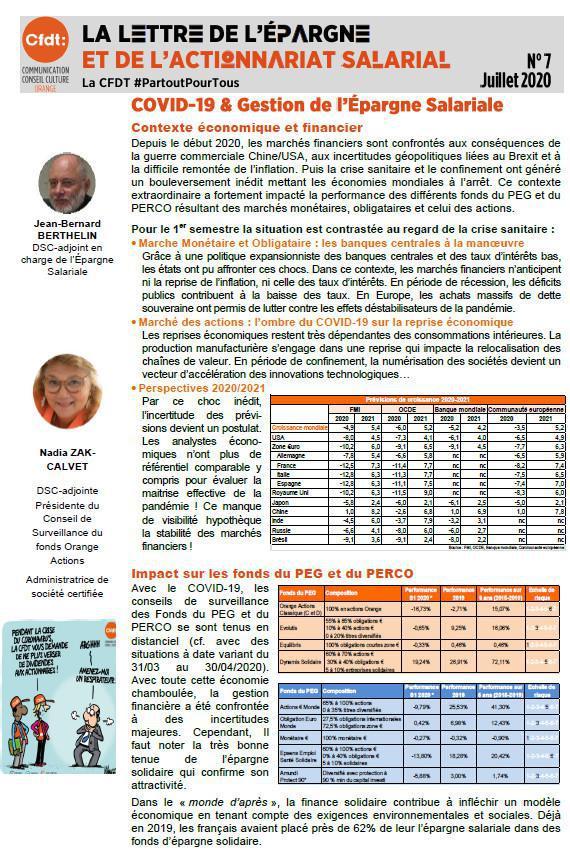 La lettre de l'épargne salariale n° 7 - COVID 19 & Gestion de l'Epargne Salariale
