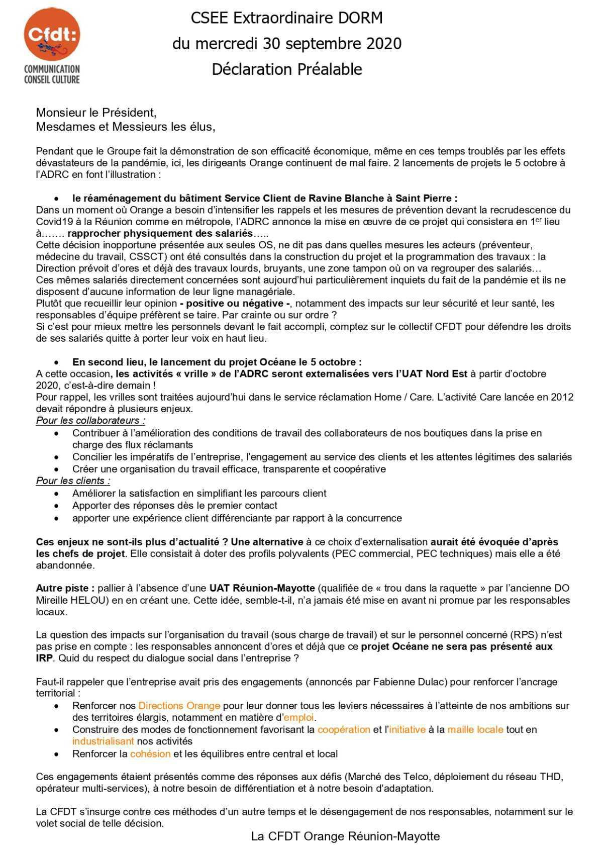 Déclaration de la CFDT lors du CSSE extraordinaire du 30 septembre