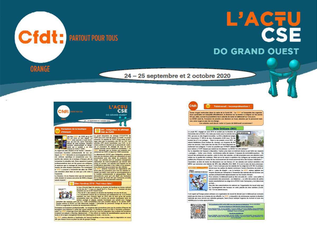 ACTU CESE de la DOGO - 24 & 25 sept et 2 oct. 2020
