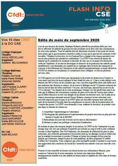 La lettre de vos élus CFDT au CSE DOGSE (Sept.2020)