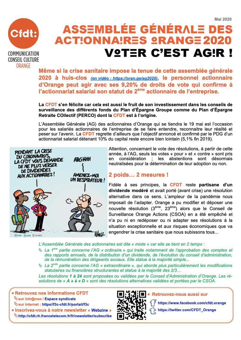 Assemblée générale des actionnaires - Voter c'est agir ! -Mai 2020