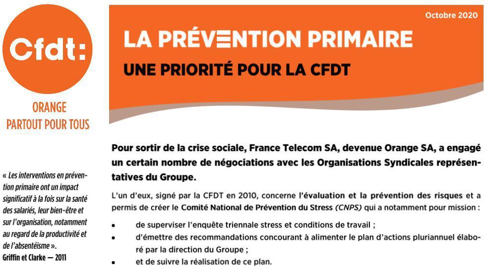 La Prévention Primaire : une priorité pour la CFDT - Oct. 2020