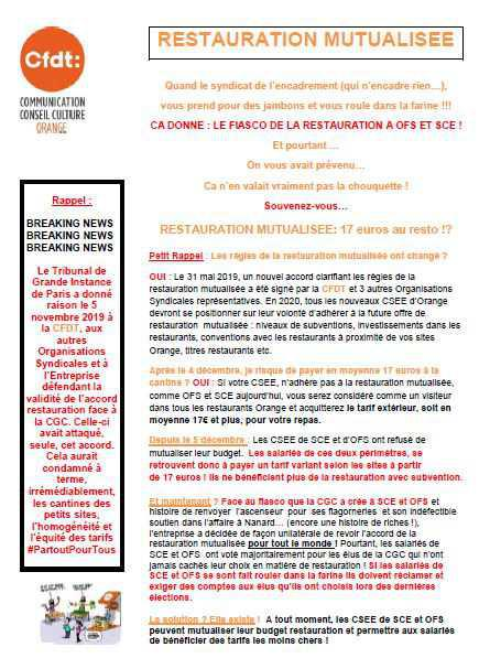 Restauration mutualisée: OFS & SCE = 17€ au restau !