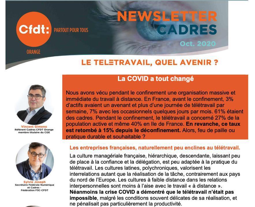 NEWSLETTER CADRES - Oct. 2020