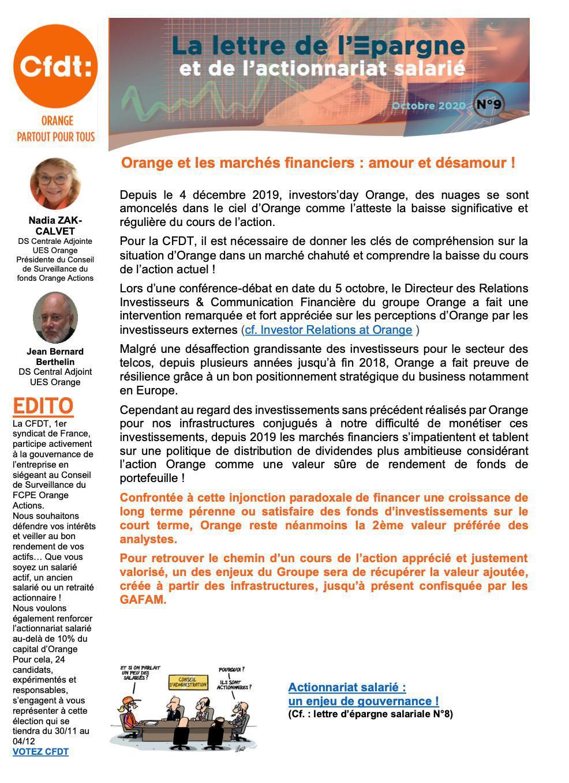 LA LETTRE DE L'EPARGNE ET DE L'ACTIONNARIAT SALARIE - N°9 - OCT.2020