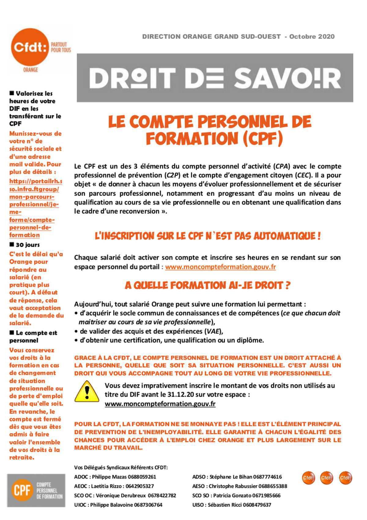 Droit de Savoir - CPF