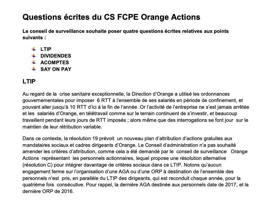 Questions écrites du Conseil de Surveillance FCPE Orange Actions - Mai 2020