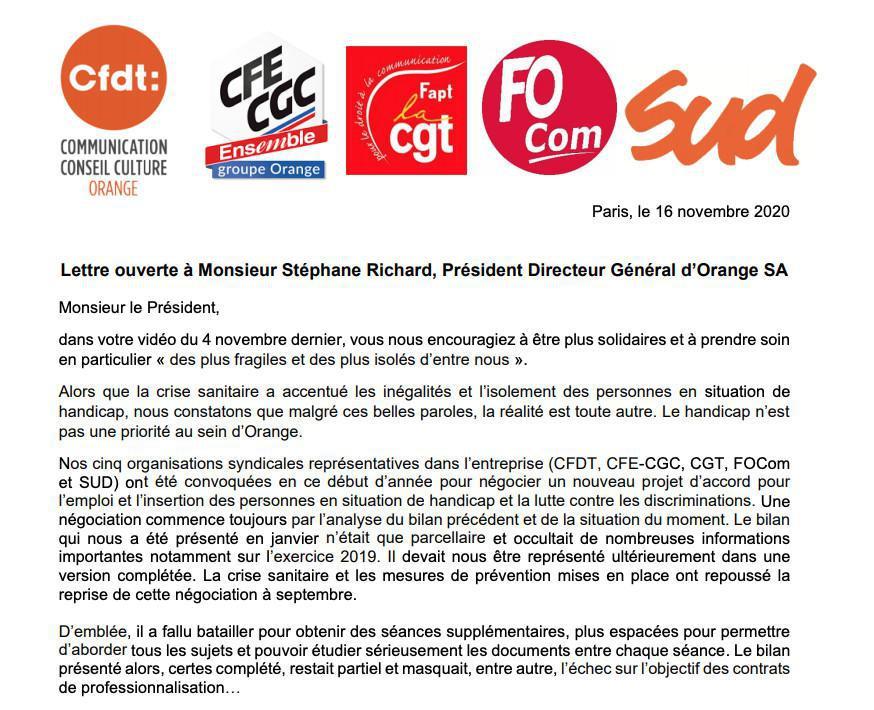 Lettre ouverte à Monsieur Stéphane Richard, Président Directeur Général d'Orange S.A.