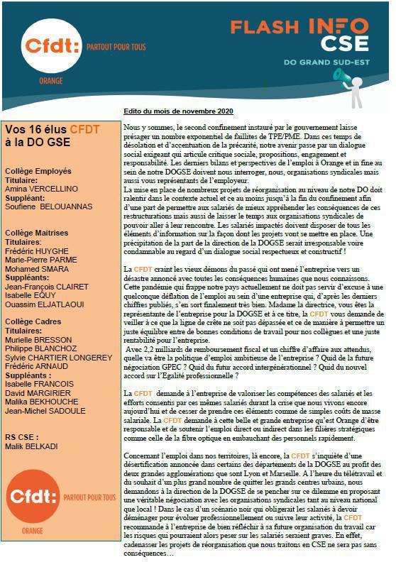 Lettre de vos élu(e)s CSE - Nov. 2020