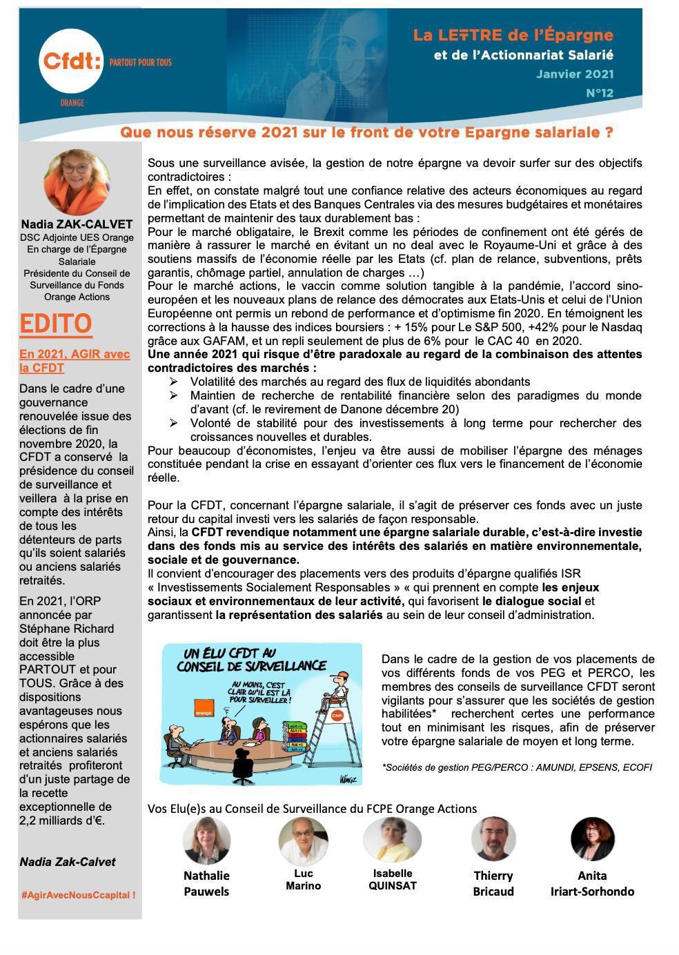 La lettre de l'épargne et de l'actionnariat salarié -Janvier 2021-#N°12
