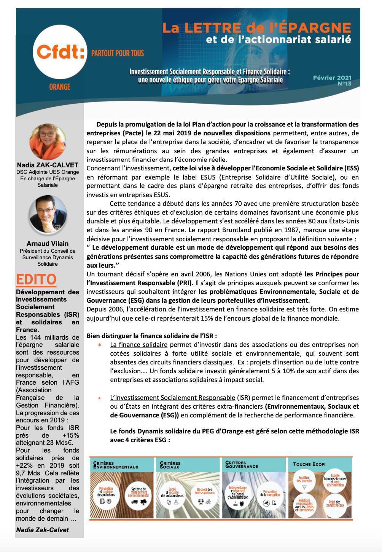 La lettre de l'Epargne #N°13- Février 2021