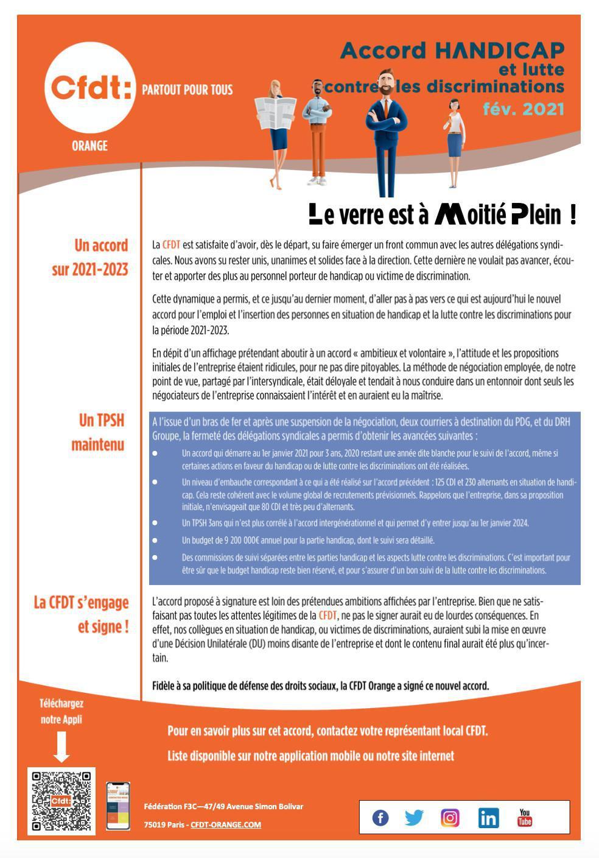 Accord Handicap et lutte contre les discriminations - Fév. 2021
