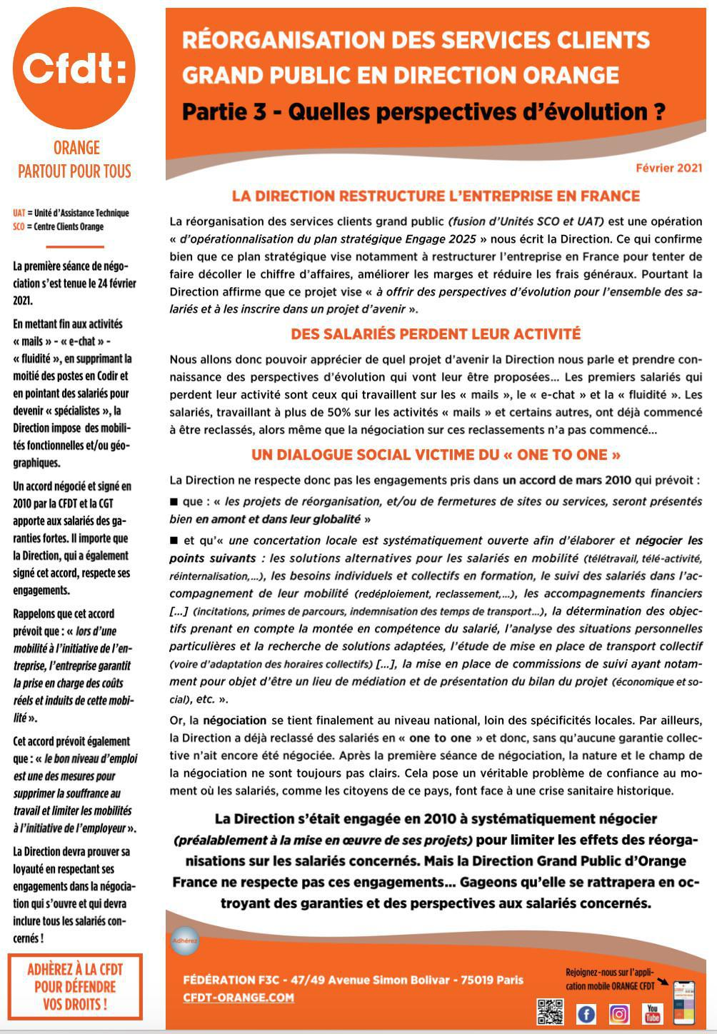 Réorganisation des Services Clients Grand Public en Direction Orange - Fév. 2021