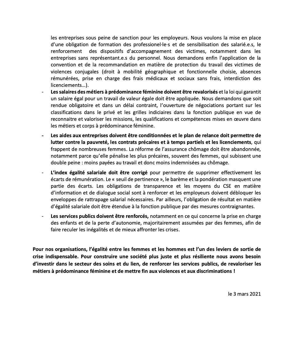 Communiqué de presse commun de la CFDT, CFE-CGC, CGT, FO, FSU, Solidaires et Unsa - 3 mars 2021