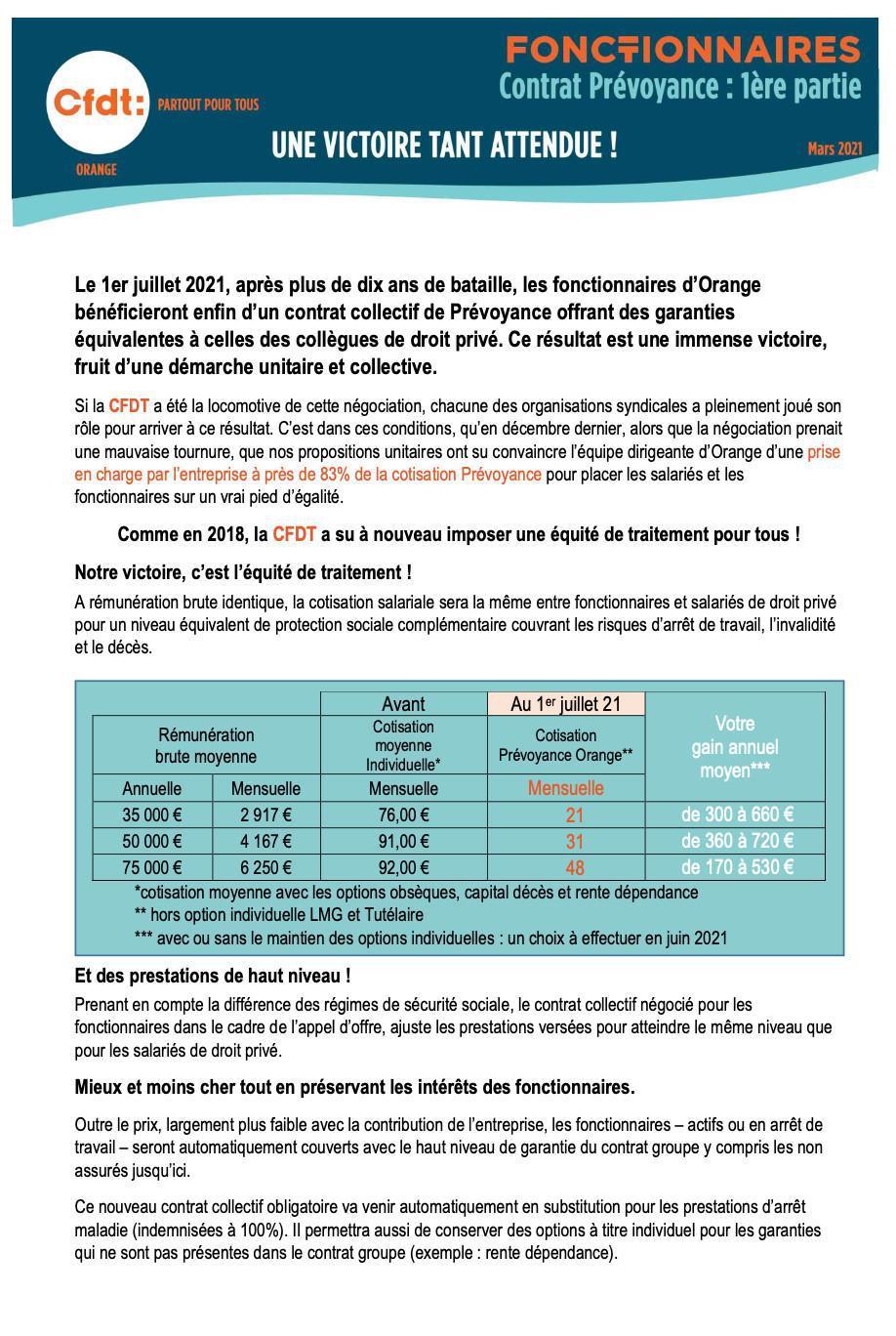 Fonctionnaires - contrat prévoyance : 1ère partie -Mars 2021