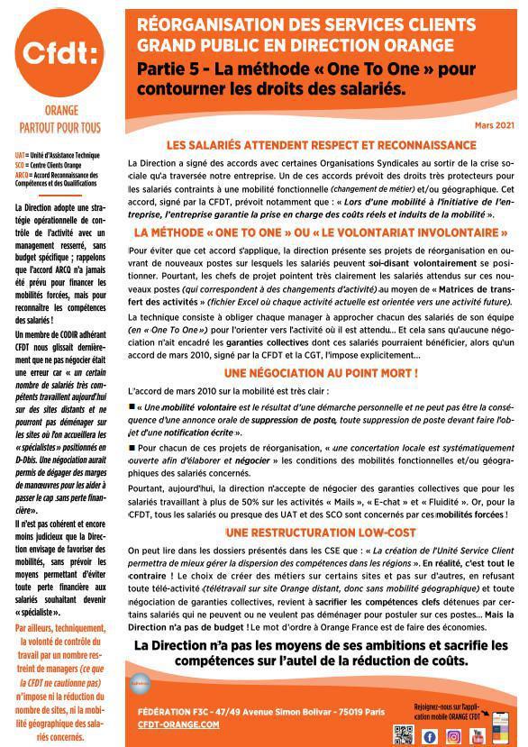 Réorganisation des services clients Orange GP