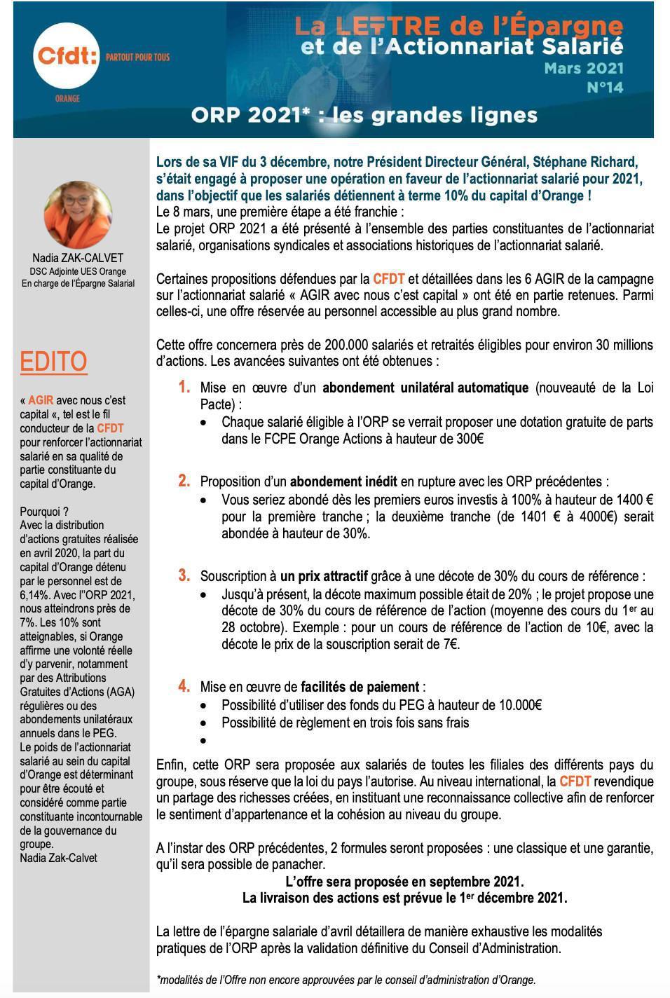 La lettre de l'épargne et de l'actionnariat salarié #14 - Mars 2021