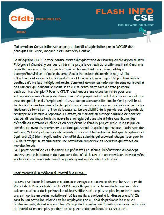 La lettre des élu(e)s CSE - Mars 2021