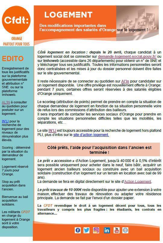 Logement : Des modifications importantes dans l'accompagnement des salariés d'Orange