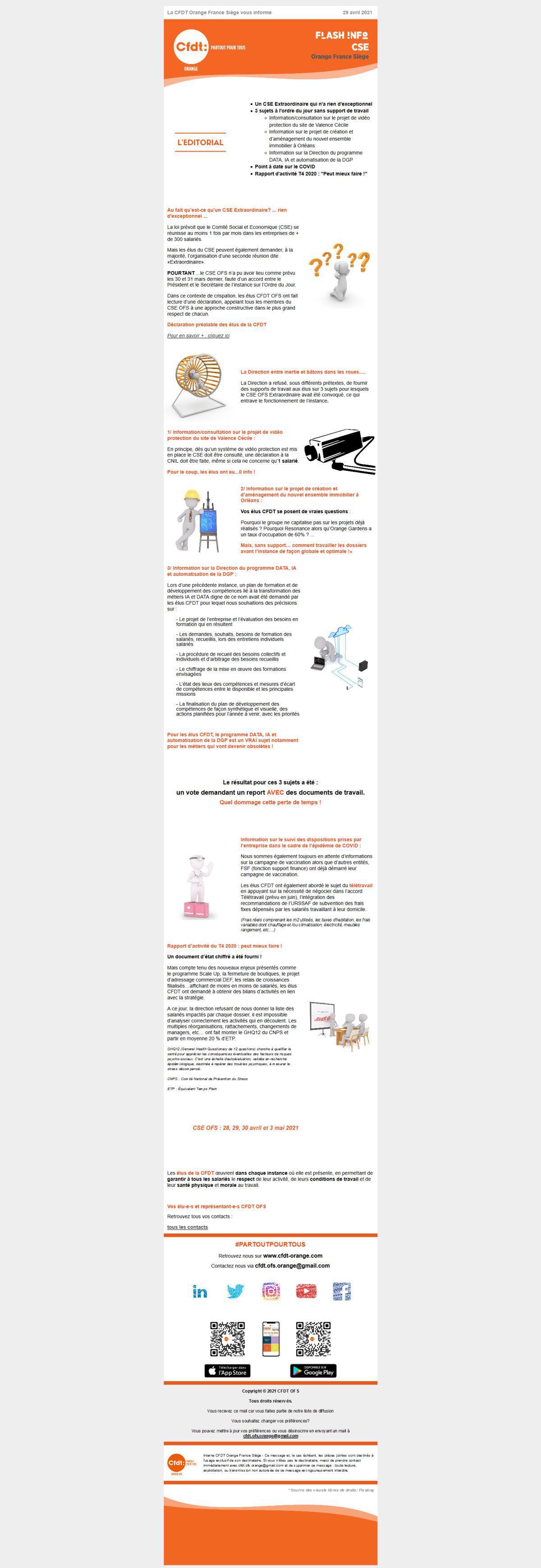 Flash info CSE 28, 29, 30 avril et 3 mai
