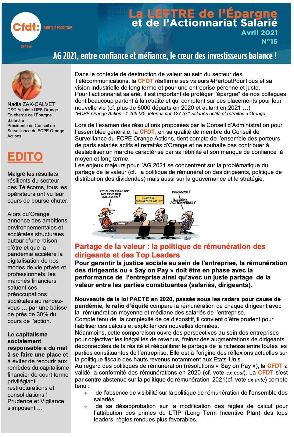La lettre de l'épargne et de l'actionnariat salarié #N°15 - Avril 2021