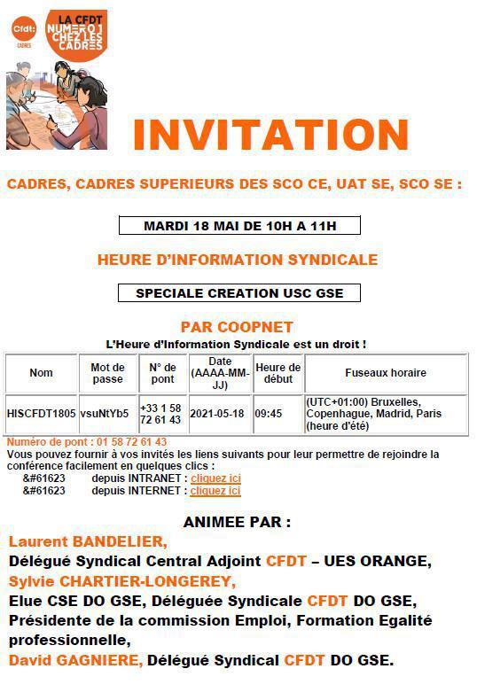 Invitation HIS Cadres, Spéciale Création USC GSE