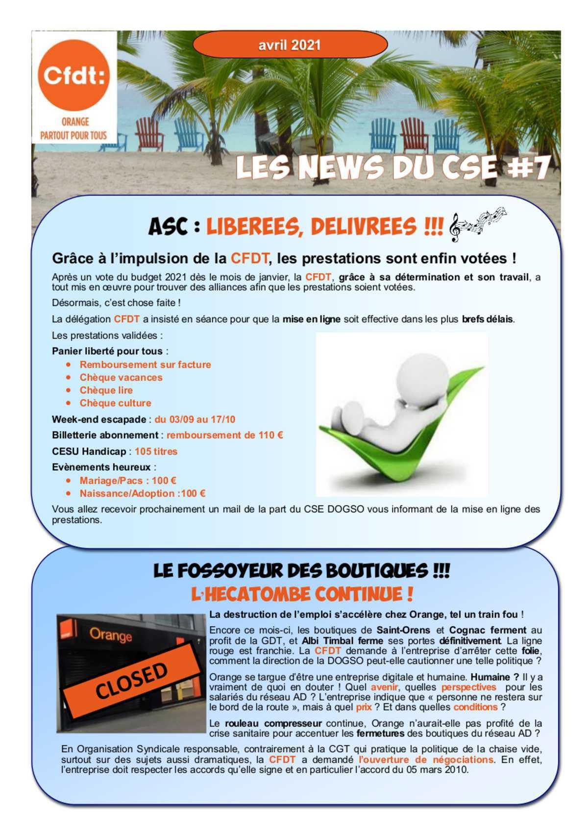 Les News du CSE N°7 - Avril 2021